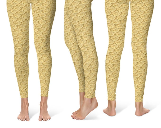 Gold Mermaid Leggings Yoga Pants, Printed Yoga Tights for Women, Dragon Scales Pattern
