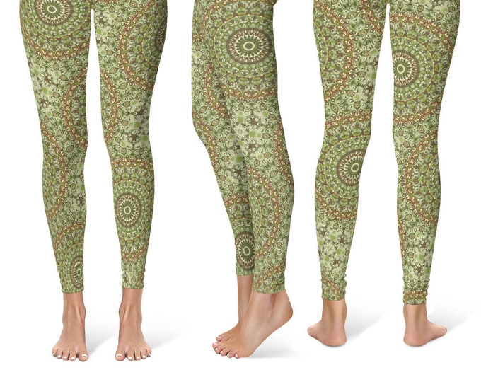 Camouflage Leggings Yoga Pants, Printed Yoga Tights for Women, Green and Brown Mandala Pattern