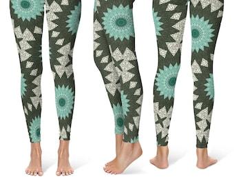 Mandala Art Leggings, Aquamarine and Forest Green Boho Yoga Pants, Turquoise Mandala Pattern Tribal Tights