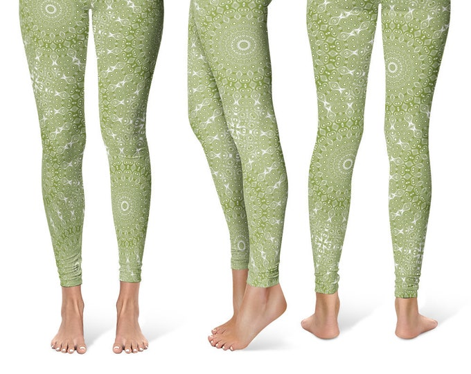 Olive Leggings Yoga Pants, Printed Yoga Tights for Women, Green and White Mandala Pattern