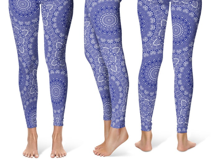Midnight Blue Leggings Yoga Pants, Printed Yoga Tights for Women, Blue and White Mandala Pattern