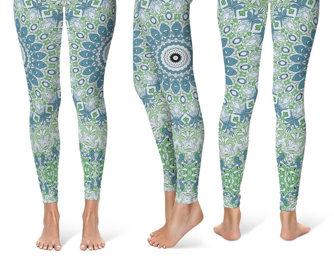 Beach Boho Leggings Yoga Pants, Printed Yoga Tights for Women, Blue and Green Ocean Mandala Pattern