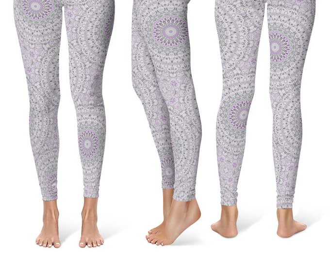 Purple Leggings Yoga Pants, Mandala Printed Yoga Tights for Women, Festival Clothing