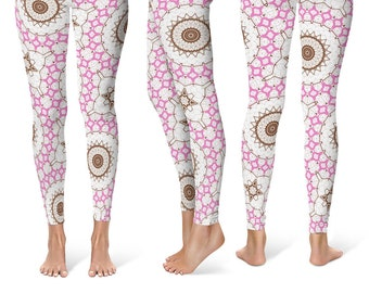 Workout Leggings for Women, White Leggings With Designs on Them, Printed Mandala Yoga Pants