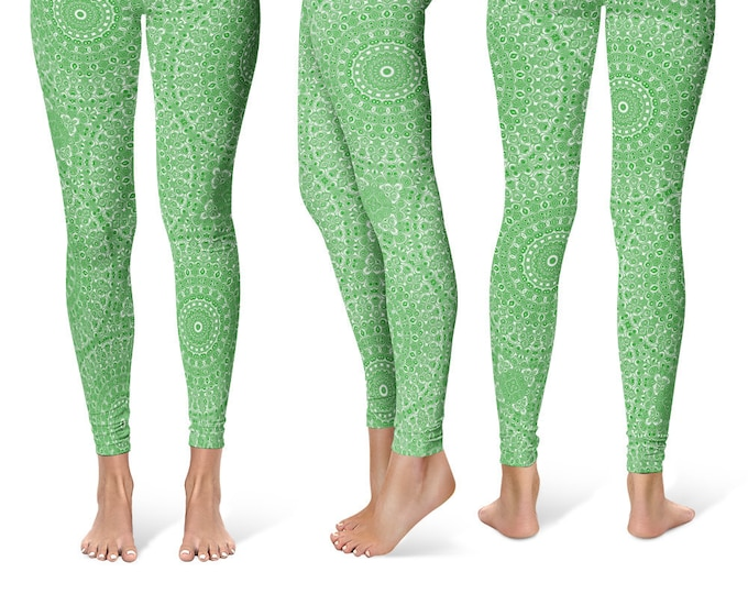 Forest Green Leggings Yoga Pants, Printed Yoga Tights for Women, Green and White Mandala Pattern