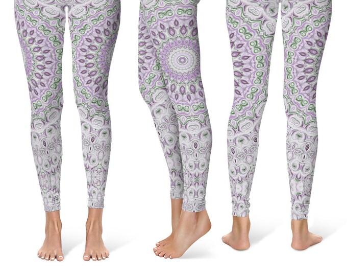 Lavender Leggings Yoga Pants, Mandala Printed Yoga Tights for Women, Festival Clothing