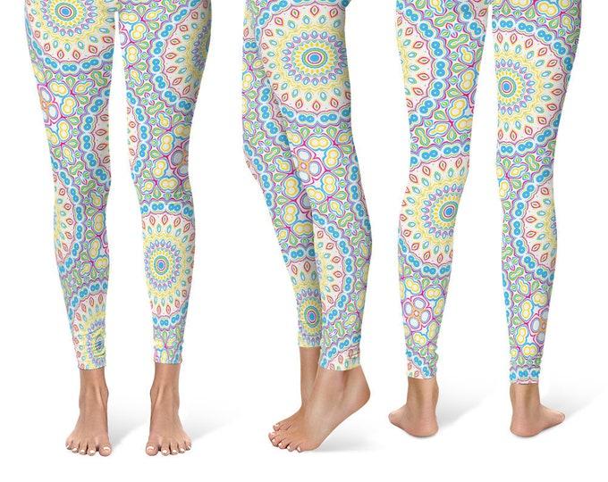 Colorful Leggings, Spring Leggings, Fun Leggings, Blue and Yellow Yoga Pants, Multicolor Mandala Pattern Fashion Tights