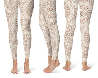Boho Yoga Leggings, Tribal Print Leggings, Brown and White Mandala Pattern Hippie Pants, Printed Tights, Festival Clothing