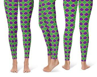 Mardi Gras Leggings, Mermaid Scales Yoga Pants in Purple and Green, Leggings Costumes