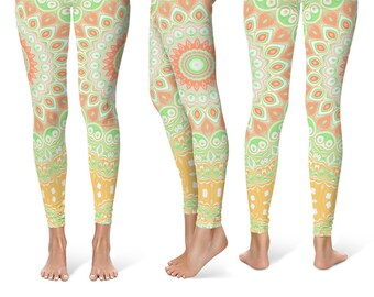 Bold Leggings Yoga Pants, Summer Printed Yoga Tights for Women, Festival Clothing