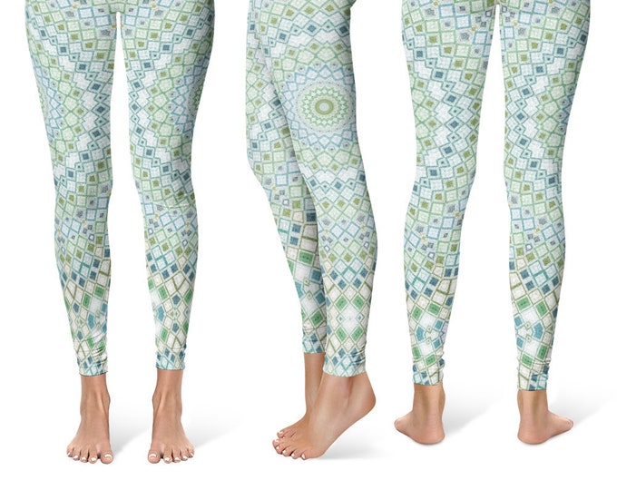 Geometric Leggings Yoga Pants, Unique OOAK Gift, One of a Kind Clothing, Printed Yoga Tights for Women