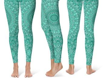 Womens Yoga Pants, Turquoise Patterned Leggings for Women, Blue Mandala Printed Boho Leggings
