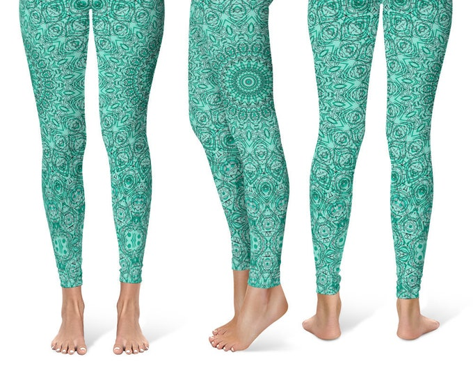 Turquoise Leggings Yoga Pants, Blue Mandala Printed Yoga Tights for Women, Festival Clothing, Burning Man