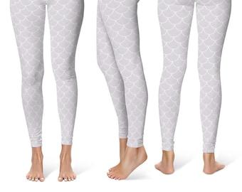 White Mermaid Leggings, White Yoga Pants, Dragon Scales, Mermaid Scales, Fish Scales, White Mermaid Tights, Printed Leggings