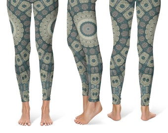 Womens Printed Leggings, Tribal Yoga Pants, Mandala Patterned Boho Leggings, Shaman Clothing