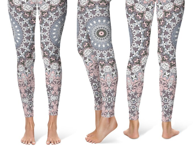Ladies Leggings Yoga Pants, Printed Yoga Tights for Women, Pink and Gray Mandala Pattern