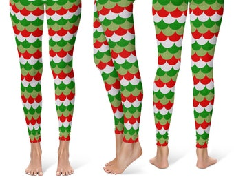 Christmas Mermaid Leggings, Holiday Yoga Pants, Red and Green Dragon Scales, Mermaid Scales, Fish Scales