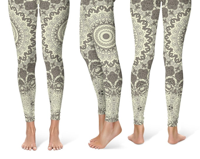 Cream Leggings Yoga Pants, Printed Yoga Tights for Women, Beige and Brown Mandala Pattern