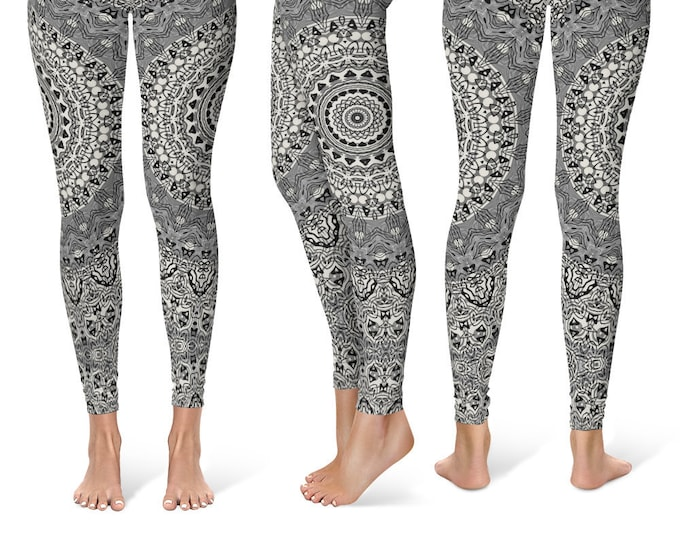 Gray Leggings Yoga Pants, Printed Yoga Tights for Women, Festival Clothing, Burning Man