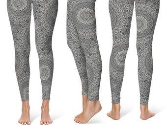 Workout Leggings, Gray Patterned Yoga Pants for Women, Printed Mandala Art Leggings, Festival Leggings in Gray and Black