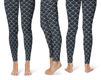 Black and Silver Leggings Yoga Pants, New Year's Yoga Tights, Mermaid Scales, Dragon Scales
