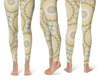 Indie Leggings Yoga Pants, Mandala Printed Yoga Tights for Women, Festival Clothing, Club Wear