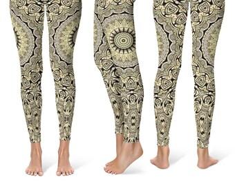 Tribal Yoga Pants for Women, Hippie Leggings, Festival Clothing, Shaman Clothing, Printed Yoga Leggings, Footless Tights