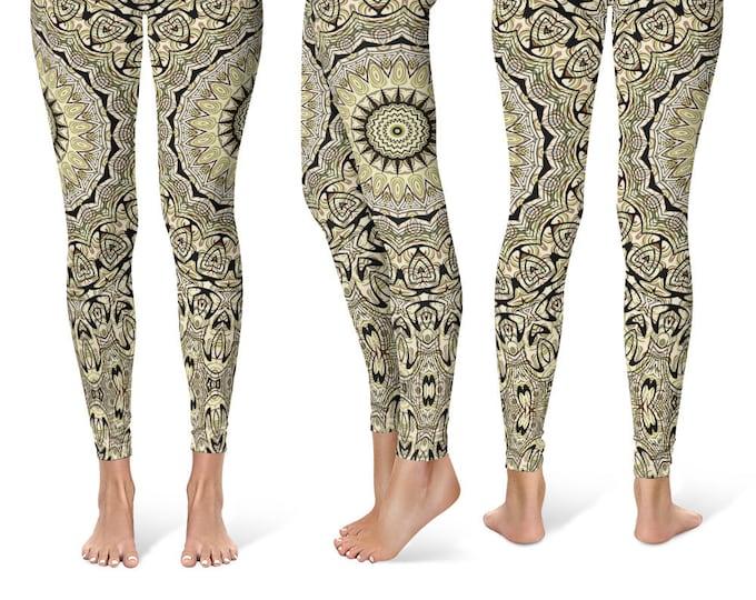 Tribal Leggings Yoga Pants, Printed Yoga Tights for Women, Festival Clothing, Burning Man