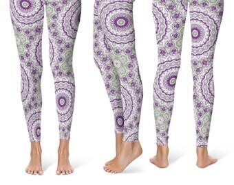 Hippie Leggings Yoga Pants, Funky Mandala Printed Yoga Tights for Women, Festival Clothing