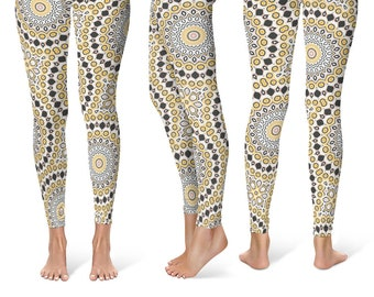 Modern Leggings, Stretchy Leggings, Black and Yellow Mandala Pattern Yoga Pants, Fashion Tights, Creative Clothing