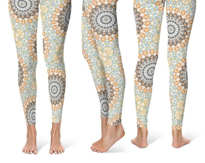 Modern Leggings Yoga Pants, Printed Yoga Tights for Women, Gray and Orange Mandala Pattern