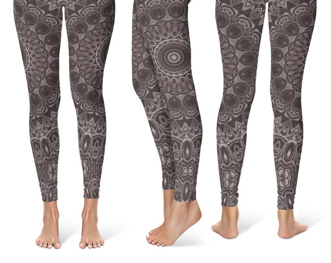 Brown Leggings Yoga Pants, Mandala Printed Yoga Tights for Women, Festival Clothing