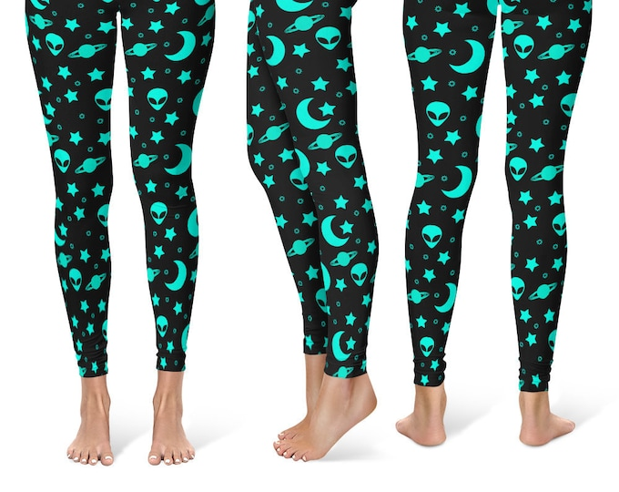 Alien Leggings Yoga Pants, Printed Yoga Tights for Women, Outer Space Pattern
