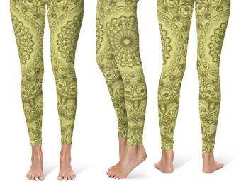 Workout Leggings Yoga Pants, Green Mandala Printed Yoga Tights for Women, Festival Clothing, Club Wear