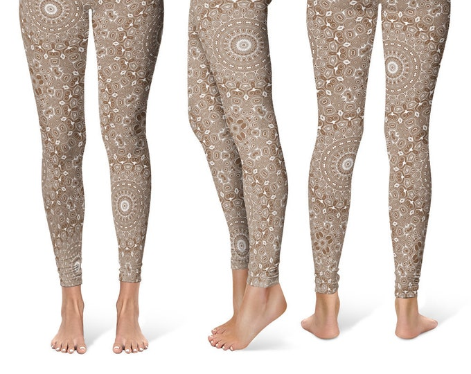 Coffee Leggings Yoga Pants, Printed Yoga Tights for Women, Brown Mandala Pattern
