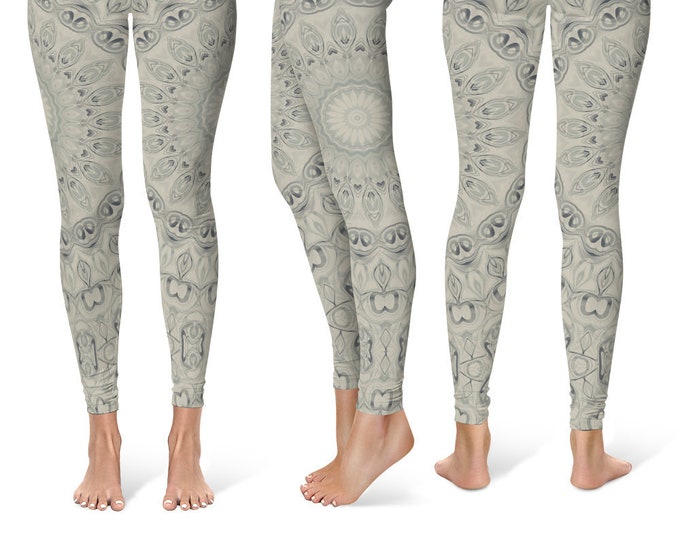Earthy Leggings Yoga Pants, Mandala Printed Yoga Tights for Women, Festival Clothing