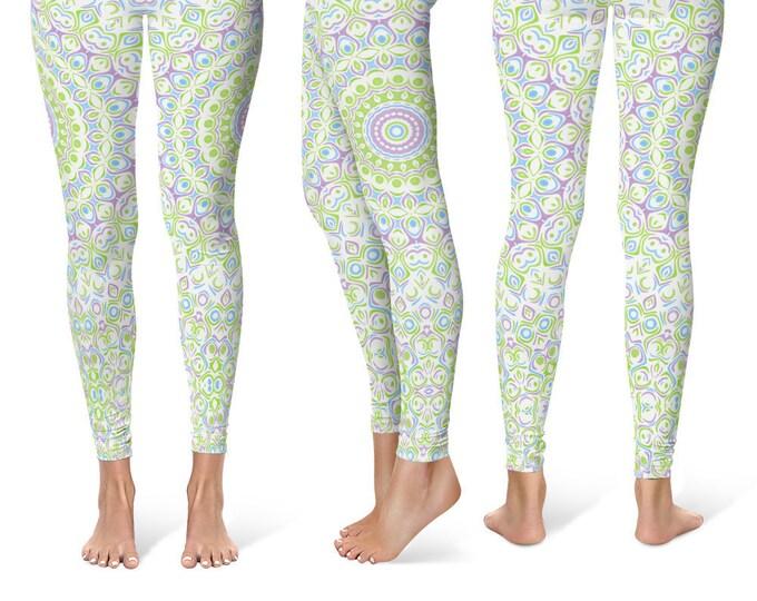 Spring Yoga Pants Leggings, Printed Yoga Tights for Women, Cute Mandala Pattern
