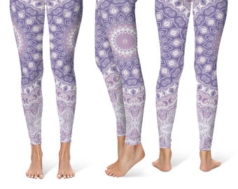 Mandala Leggings Yoga Pants, Lavender Printed Yoga Tights for Women, Festival Clothing, Club Wear