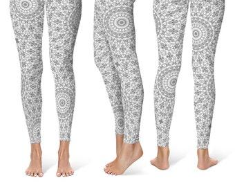 Gray Leggings Yoga Pants, Printed Yoga Tights for Women, Gray and White Mandala Pattern