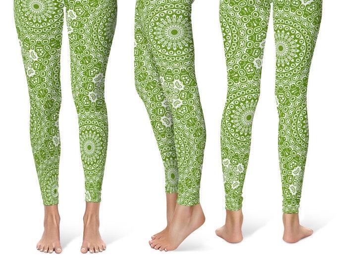 Avocado Leggings Yoga Pants, Printed Yoga Tights for Women, Green and White Mandala Pattern