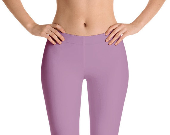 Opera Mauve Leggings Yoga Pants, Solid Color Yoga Tights for Women, Workout Clothes