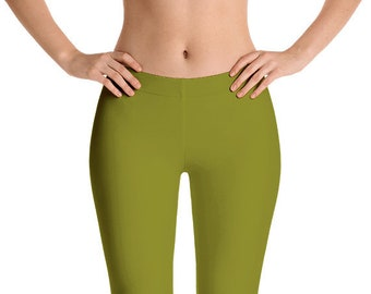 Olive Green Leggings Yoga Pants, Solid Color Yoga Tights for Women