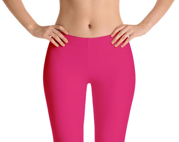Ruby Leggings Yoga Pants, Solid Color Yoga Tights for Women, Pink Workout Clothes