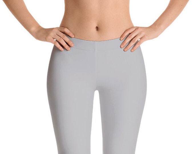 Silver Leggings Yoga Pants, Solid Color Yoga Tights for Women, Gray Workout Clothes