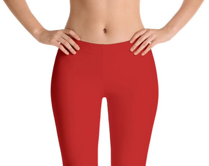 Red Leggings Yoga Pants, Solid Color Yoga Tights for Women, Workout Clothes