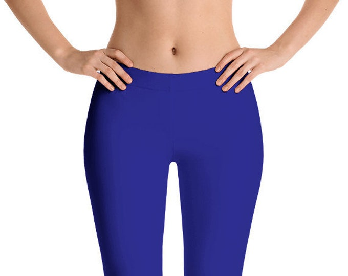 Navy Blue Leggings Yoga Pants, Solid Color Yoga Tights for Women, Workout Clothes