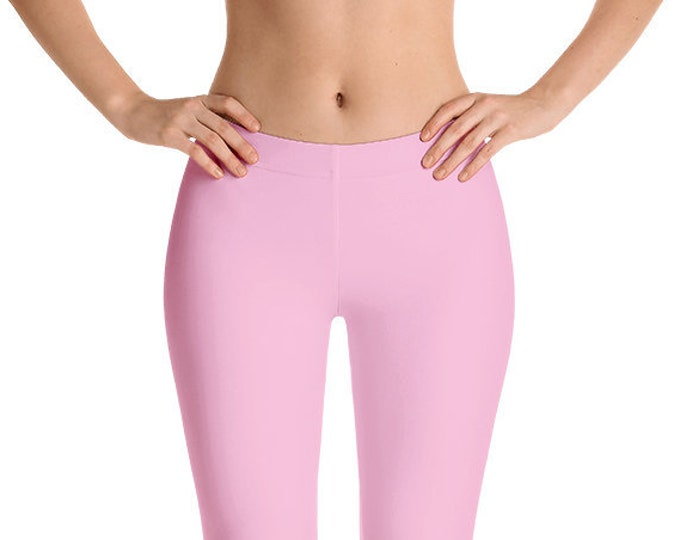 Pink Leggings Yoga Pants, Solid Color Yoga Tights for Women, Workout Clothes