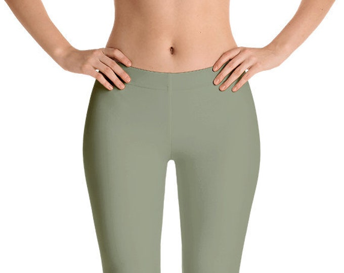 Artichoke Leggings Yoga Pants, Solid Color Yoga Tights for Women, Green Workout Clothes