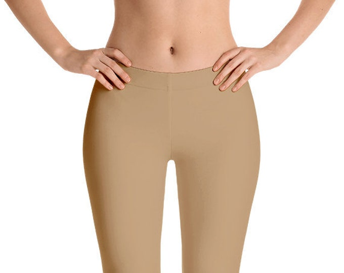 Camel Leggings Yoga Pants, Solid Color Yoga Tights for Women, Workout Clothes