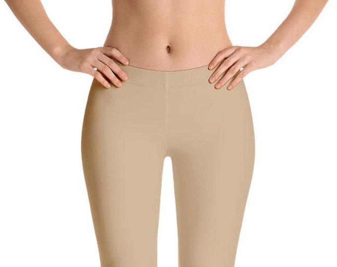 Tan Leggings Yoga Pants, Solid Color Yoga Tights for Women, Workout Clothes